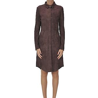 Arma Ezgl570002 Women's Burgundy Suede Dress