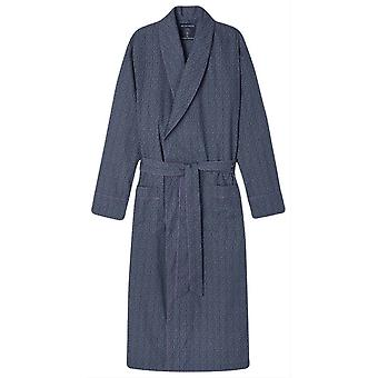 British Boxers Curlicue Print Dressing Gown - Navy