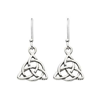 Heritage Sterling Silver Celtic Triangle Knot Drop Earrings 62032HP026