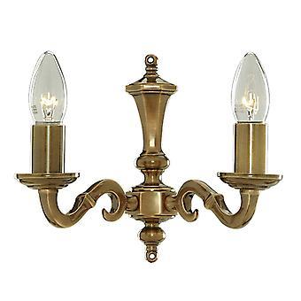 2 Light Indoor Candle Wall Light Antique Brass, E14