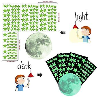 Lumineux Moon Dots Star Cartoon Diy Wall Stickers Chambre à coucher Glow In The Dark Wall