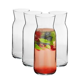 4 Piece Brocca Glass Water Carafe Set - Decanter Jug for Water, Wine, Iced Tea - 700ml