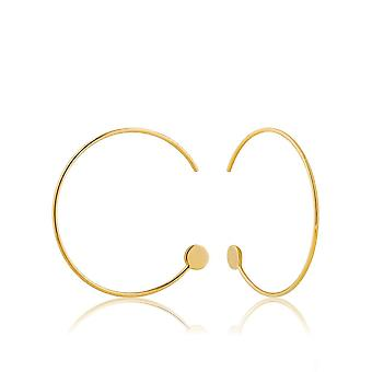 Ania Haie Sterling Silver Shiny Gold Plated Open Hoop Earrings E008-14G