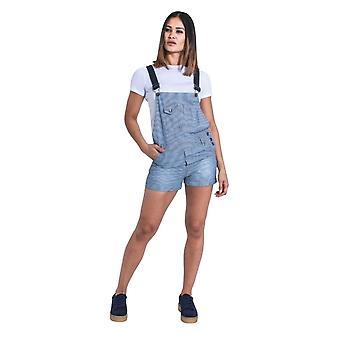Imogen womens dungaree shorts - hickory stripe
