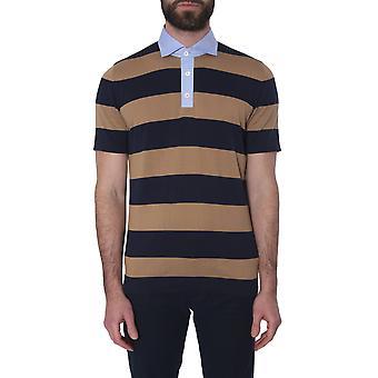 Brunello Cucinelli M29801105c0686 Hombres's Camiseta Polo de Algodón Beige/azul