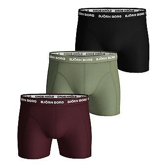 Bjorn Borg Sammy Seasonal Solids 3 Pack Boxer Shorts - Winetasting
