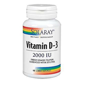 Solaray-vitamiini D-3, 2000 IU, Sitruuna 60 Lozenges
