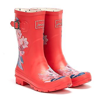 Joules Molly Mid Height Floral Womens Red Wellies