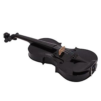 4/4 Full Size- Acoustic Violin Fiddle With Case Bow Rosin (black)