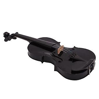 4/4 Full Size - akustische Violine Fiddle mit Fall Bogen Rosin (schwarz)