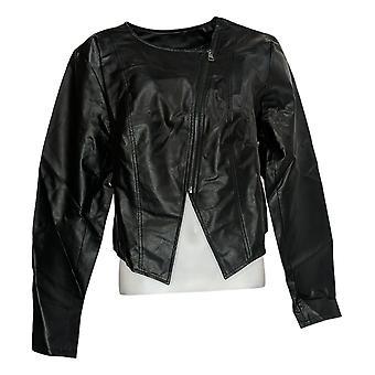 G by Giuliana Women's Lightweight Faux Leather Moto Jacket Black 701-050