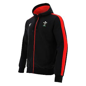 2020-2021 Wales Full Zip Cotton Hooded Sweatshirt (Negro)