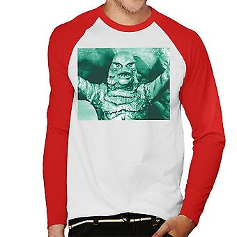 The Creature From The Black Lagoon Cave Scene Men's Baseball Long Sleeved T-Shirt