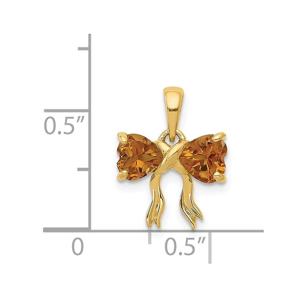11.2mm 14k Gold Polished Citrine Bow Pendant Necklace Jewelry Gifts for Women - .80 cwt