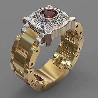 Unique handmade gold plated ring for men with large blue red stone