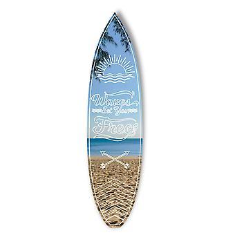 Surf Board Quote Waves ti imposta specchio acrilico gratuito