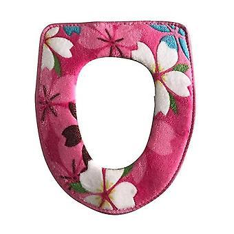 Floral Printing Warm Comfortabele Coral Velvet toiletbrilhoezen