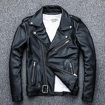 Nueva chaqueta de cuero genuino hombres motor Bike bike piel de oveja abrigo delgado más tamaño