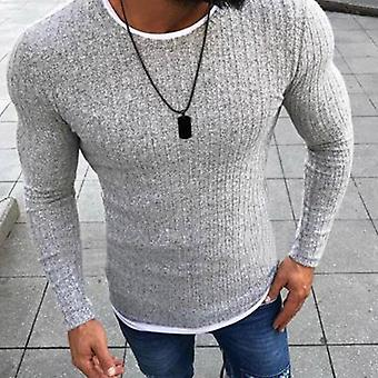 Mode Männer Block Patchwork O Hals Langarm Pullover gestrickte Pullover
