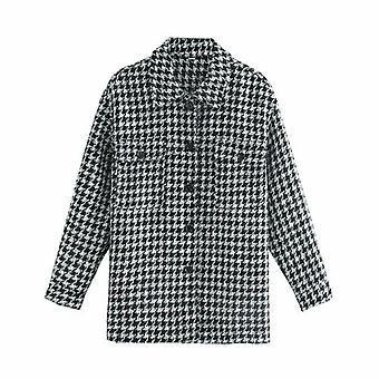 Vintage kockás gyapjú keverék kabát