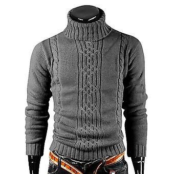 Winter Warm Turtleneck Sweater, Men Vintage Tricot, Casual Pullovers Male
