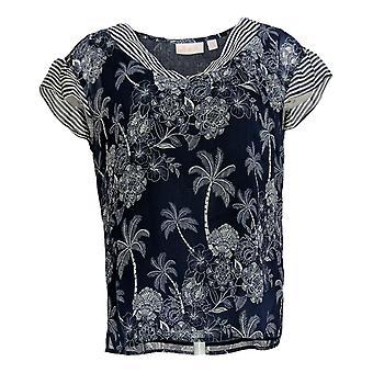 Belle by Kim Gravel Women's Top Palm Tree Blouse Stripe Trim Blue A351259