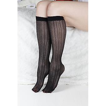 Black- Semi Sheer Pattern, Knee-highs Socks