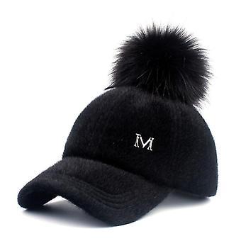 Baseball Caps 2017, Winter Cap Faux Fur Pompom , Adjustable Casual Snapback Hat