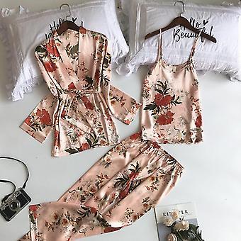 Printing Women Robe Spaghetti Strap Cardigan Pant Set Sexy Fashion Female High