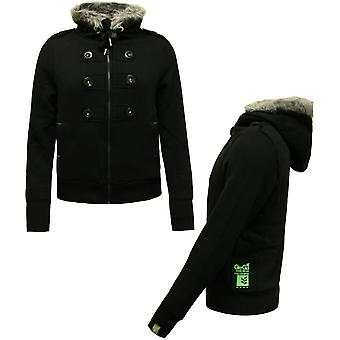 Gio Goi Naisten Hiki Hupullinen Fleece Takki Musta A11200403 -BA1 A53D