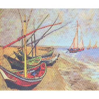Dolls House Miniature Van Gogh Fishing Boats Peinture d'images Toile