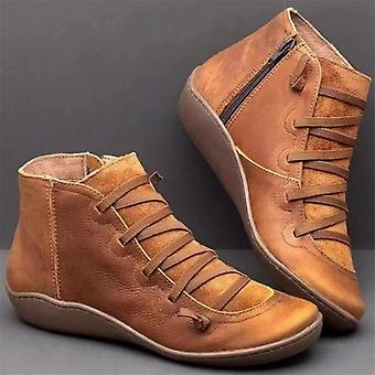 Winter Snow Genuine Leather Ankle Spring Flat Shoe Lace-up Boots