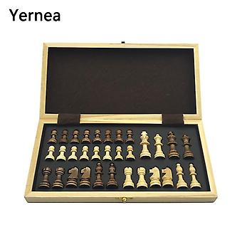 Chess Wooden Wooden Checker Board Solid Wood Pieces Folding Chess Board