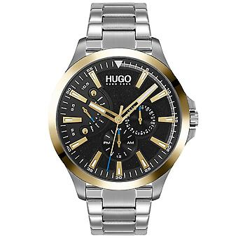 HUGO 1530174 Leap Silver, Gold And Black Men's Watch