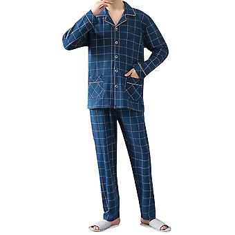 YANGFAN Men's Pajamas Sets 2 Piece Plaid Pajama Pants Button Down Long Sleeve Sleepwear