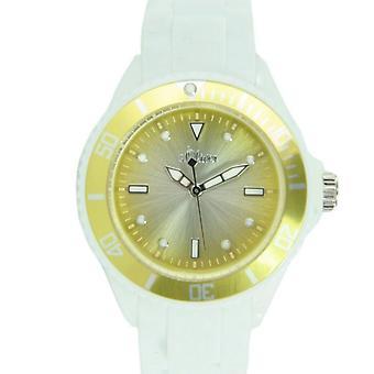s.oliver Damen Uhr Silkon Armbanduhr weiß gelb metallic SO-2701-PQ