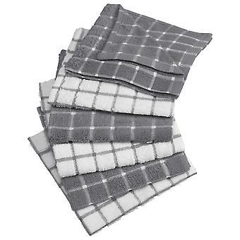 Dii Gray Combo Windowpane Dishcloth (Set di 6)
