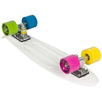 Skateboard hvid plast - 22 tommer - multi hjul