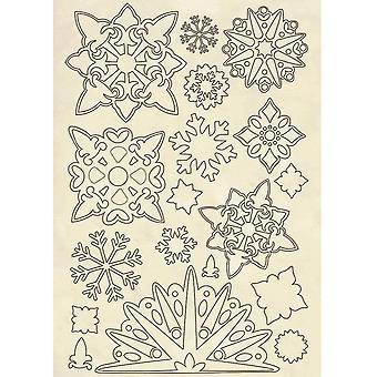Stamperia Holzformen A5 Schneeflocken