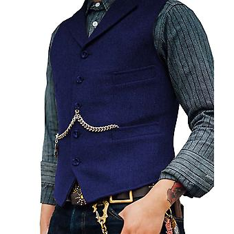 Men's Suit Vest Boutique Villa Tweed Slim Fit Vapaa-ajan puuvilla Bisnes Liivi