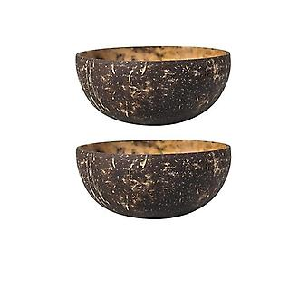 2 Piece set of natural handicraft coconut shell bowls with complementary wooden cutlery