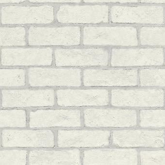 White Brick Rasch Wallpaper