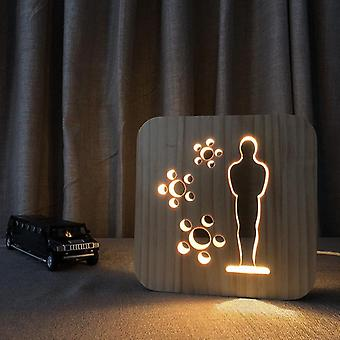 قاد خشبية نحت ليلة ضوء USB السلطة نمط الإبداعي t1825w