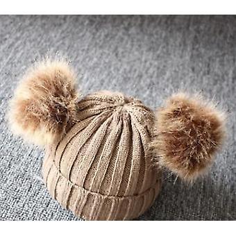 Baby Winter Warm Knit Hat Furry Balls Pompom Cute Lovely Beanie Cap