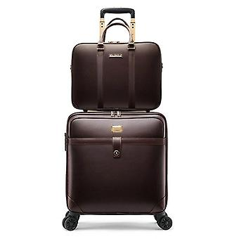 Men Business Pu Leather Rolling Luggage