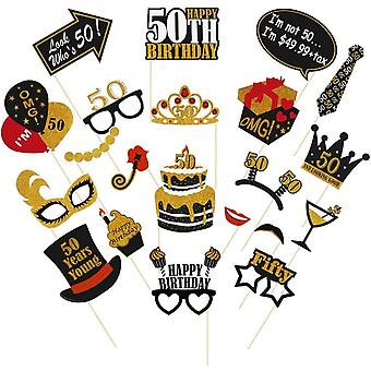 Gerui 21PCS 50th Birthday Photo Booth Props Birthday Party Supplies Selfie Props Party Favors for Men