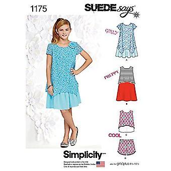 البساطة نمط الخياطة 1175 الفتيات الفتيات الفتيات اللباس الأعلى السراويل حجم 8.5-16.5