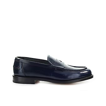 Doucal's Navy Blue Leather Penny Loafer