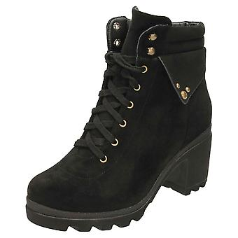 Koi Footwear Chunky Ankle Boots Lace Up Mid Heel