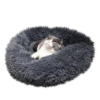 Pet Dog Cat Calming Bed Warm Soft Plush Round Navy Color Pet Pad For Pet Dog Cat